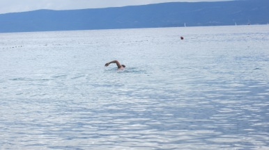 Tom heading off for a swim along the coast