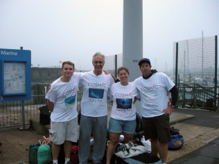 Team COSMIC Rays swimmers. Rob, Parviz, Me and Paul