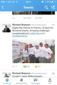 Tweet from Richard Branson congratulating us