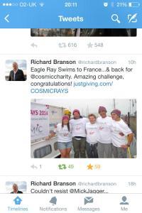 Tweet from Richard Branson congratulating us